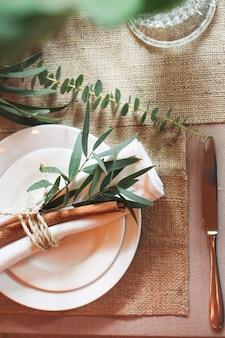 Flatlay de decoración de mesa