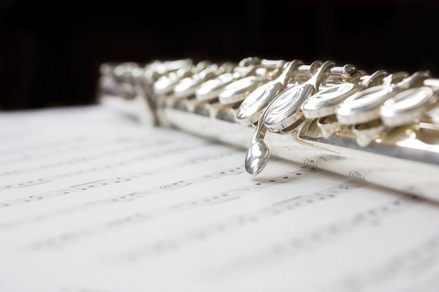 Flauta limpia de plata en partituras con espacio de copia