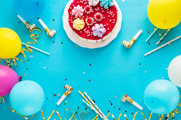 Flay lay of birthday cake and copy space
