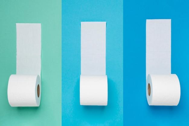 Flay lay de rollos de papel higiénico