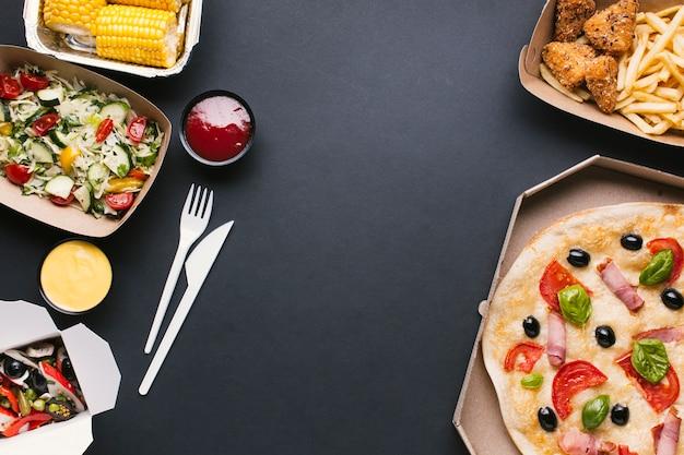 Flay pone marco de comida con espacio de copia