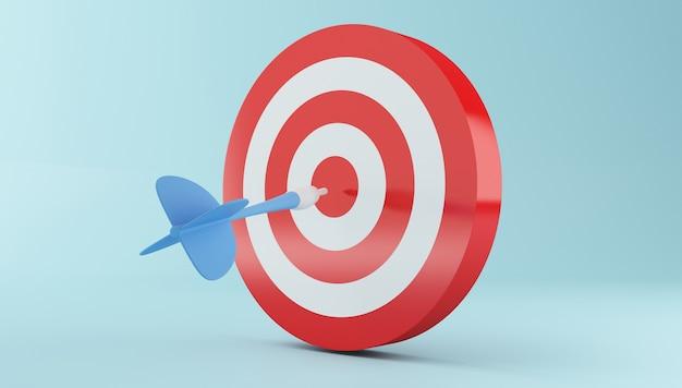 Flecha 3d golpeando el centro del objetivo rojo.