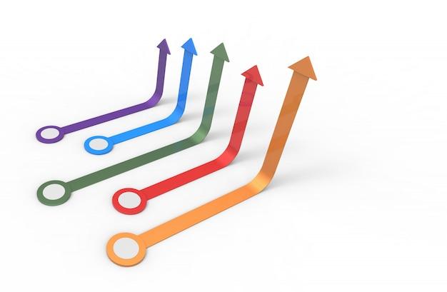 Flecha de colores concepto de negocio en crecimiento representación 3d.