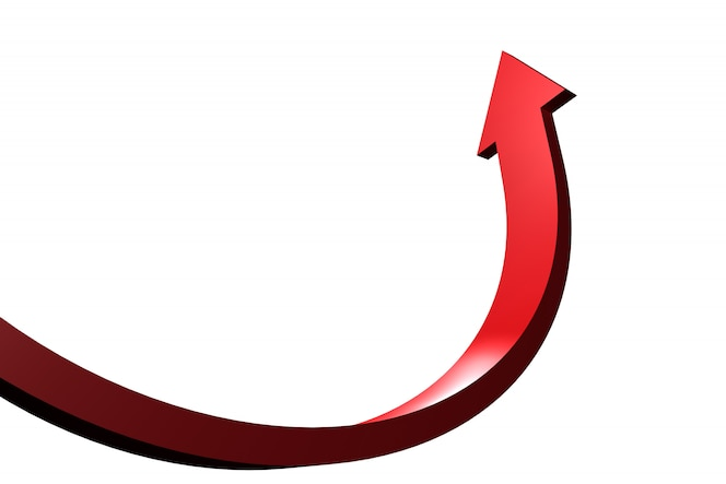Flecha curva roja apuntando hacia arriba