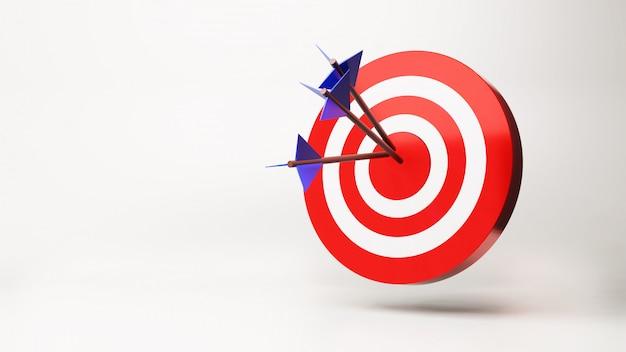 La flecha está exactamente en el objetivo, render 3d