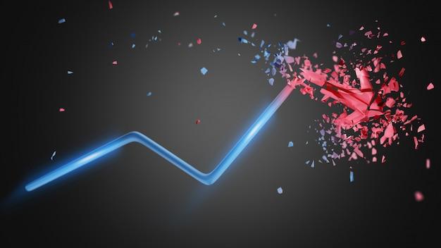 Flecha financiera subiendo y explotando al final - renderizado 3d