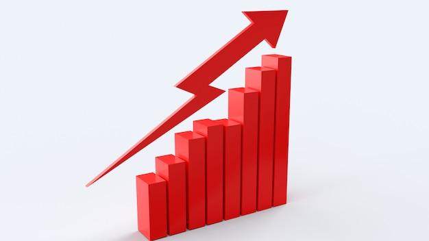 La flecha roja y el gráfico, representación 3d de contenido empresarial.