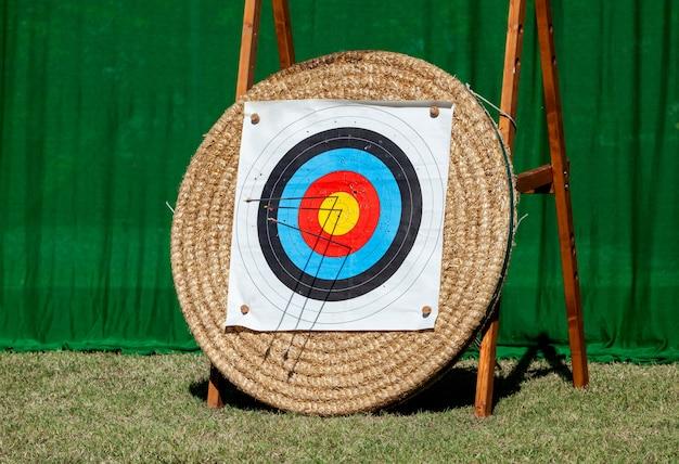 Flechas incrustadas en la fila de objetivos de tiro con arco.