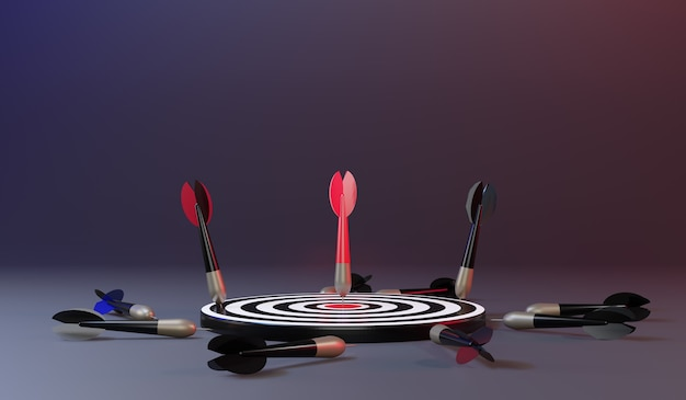 Flechas rojas que alcanzan el objetivo central. objetivo de dardos. objetivo del negocio. concepto de negocio de éxito. representación 3d