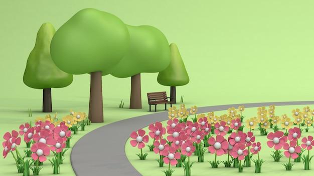 Flor y árboles en parques verdes, estilo de dibujos animados low poly representación 3d