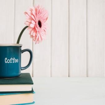 Flor en taza en la pila de libros