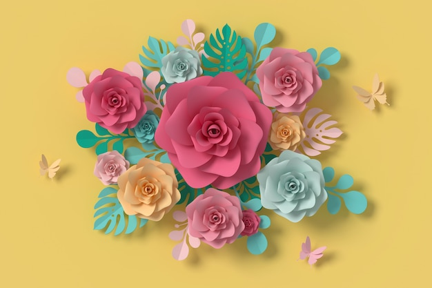Flor de estilo papel, rosa colorida, papel artesanal floral, papel mariposa.