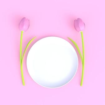 Flor con el fondo blanco mínimo del extracto rosado en blanco del plato