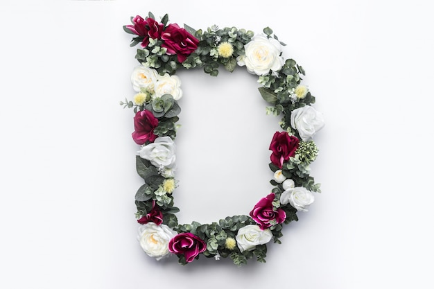Flor letra d floral monograma foto gratis