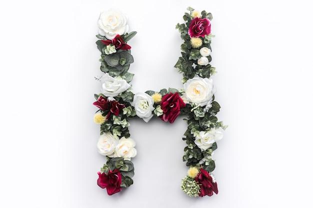 Flor letra h floral monograma foto gratis