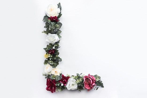 Flor letra l monograma floral foto gratis