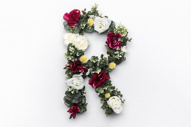 Flor letra r floral monograma foto gratis