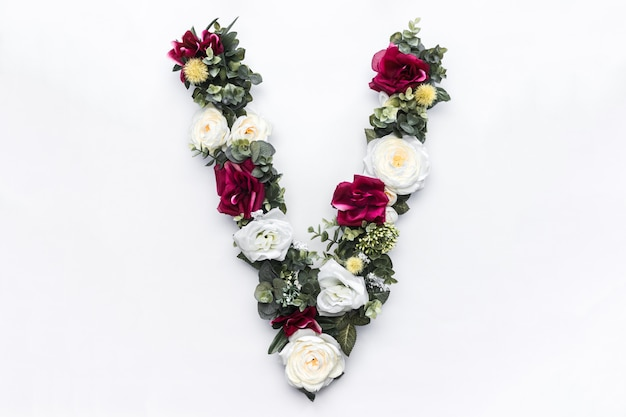 Flor letra v monograma floral