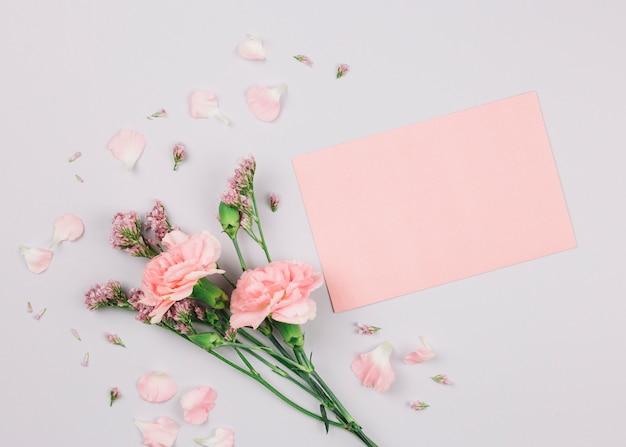 Flor de limonium rosa y claveles cerca del papel en blanco sobre fondo blanco