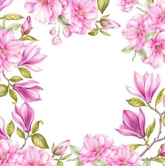 Flor de magnolia y flores de cerezo japonés enmarcadas fondo