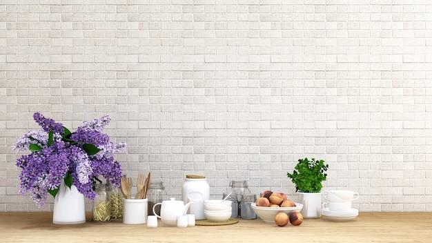 Flor morada con cocina en fondo de ladrillo - representación 3d