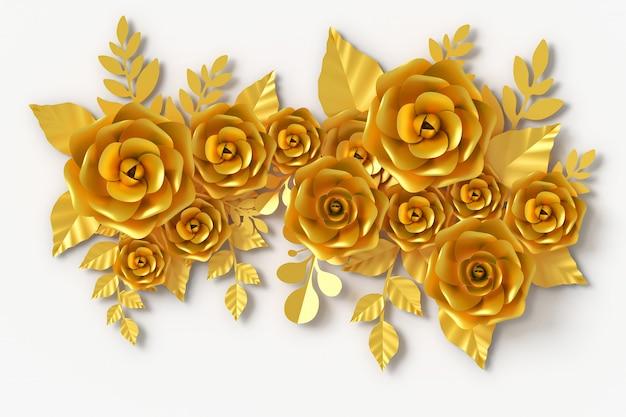 Flor de oro estilo papel, renderizado 3d