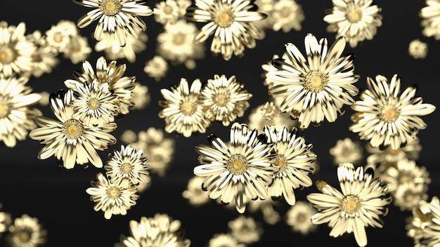 Flor de oro sobre un fondo negro