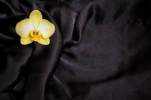 Flor de la orquídea en tela de satén negro.