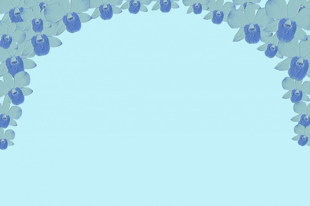 Flor de orquídeas azul resumen relieve fondo