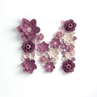 Flor de papel alfabeto letra m 3d render