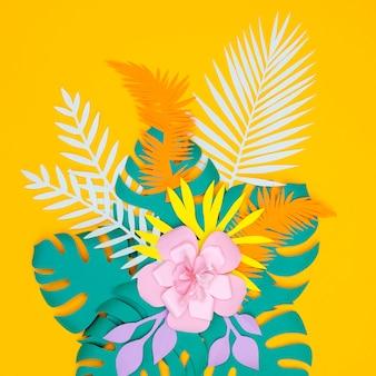 Flor de papel flores y hojas