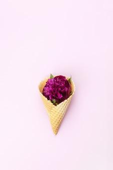 Flor de peonía en cono de waffle sobre fondo lila pastel