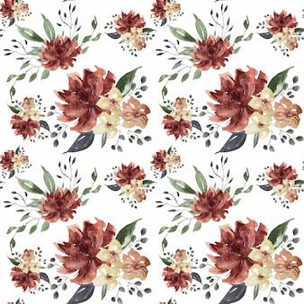 Flor de primavera de color rosa y burdeos y flores de coral de patrones sin fisuras