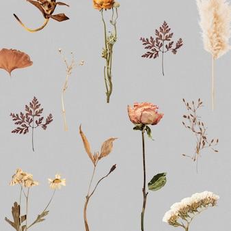 Flor seca y estampado de hojas.