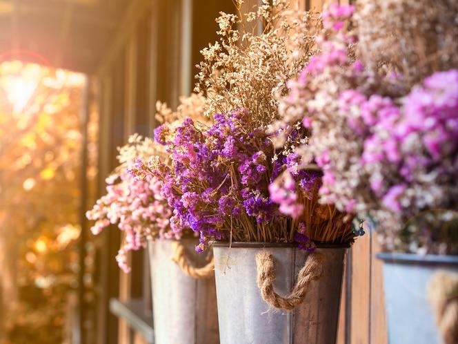 Flor seca natural en color púrpura, rosado y blanco en una olla con fondo puesta de sol