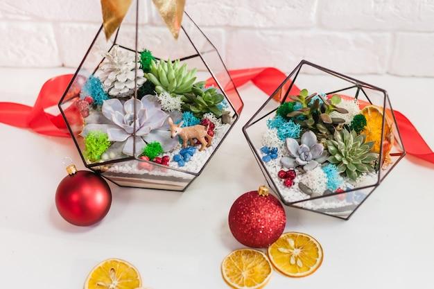 Florarium - composición de suculentas, piedra, arena y vidrio con decoración navideña