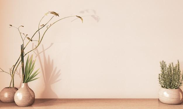 Florero decoartion de madera en el piso de madera, tono tierra representación 3d