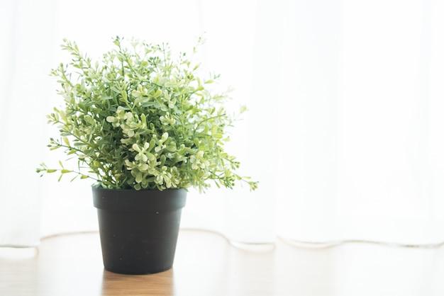 Florero planta decorativa en casa al lado de la ventana.