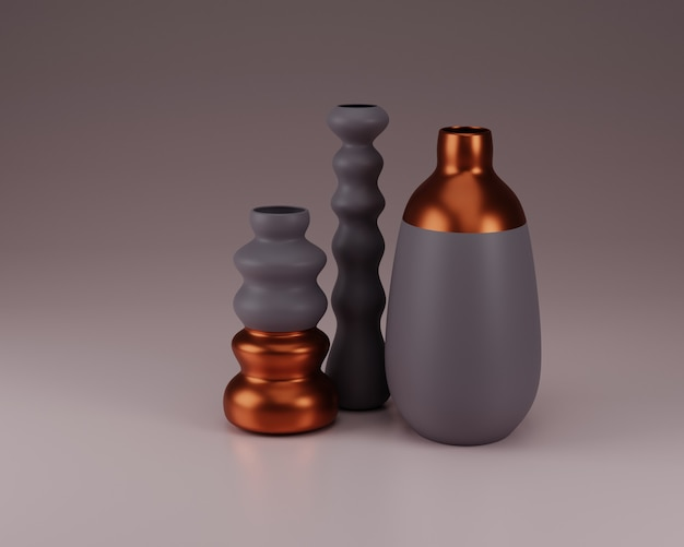 Floreros de cobre y composición de hormigón 3d render ilustración