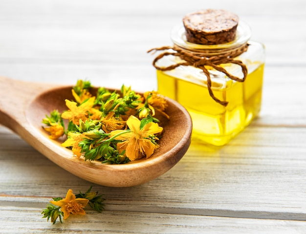 Flores y aceite de hierba de san juan