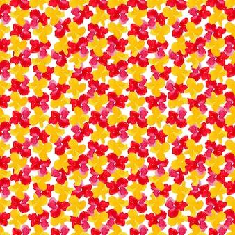 Flores acuarelas rojas y amarillas en patrones sin fisuras