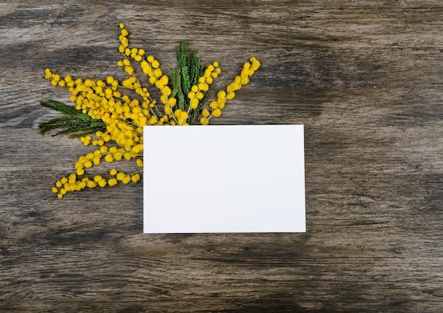 Flores amarillas de mimosa con hojas verdes en el lado debajo de la tarjeta