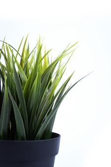 Flores artificiales hierba diferente forma en una maceta aislada de cerca