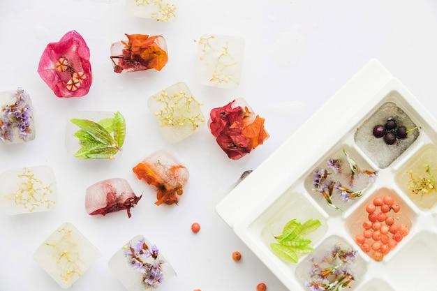 Flores y bayas en bloques de hielo y bandeja.