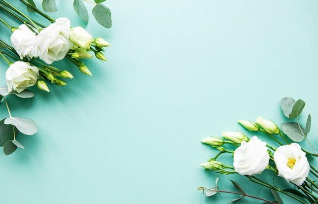 Flores blancas de eustoma