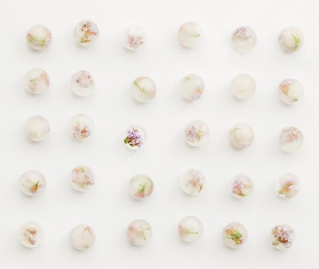 Flores bloqueadas en bolas de hielo.