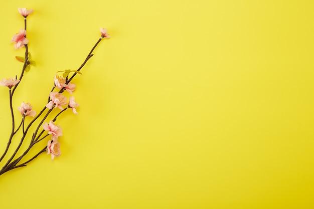 Flores de ciruela sobre fondo amarillo