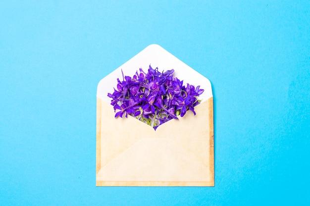 Flores de color púrpura en un sobre sobre un fondo azul.