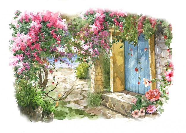 Flores de colores acuarela. primavera con edificios y muros y mar