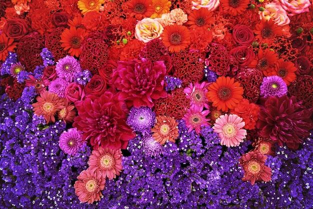 Flores de colores de fondo.